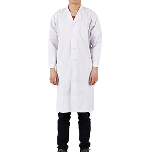 Nanxson(TM) Laborkittel Unisex Baumwolle Kittel Medizin Arztkittel Labormantel mit Knöpfe CF9002 (L, Weiß)