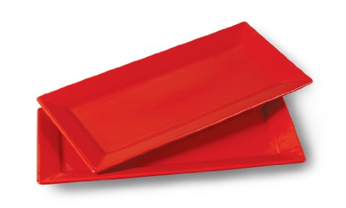 2 PLAT DE SERVICE DESIGN RED DEVIL SERVICE DE TABLE VAISSELLE ROUGE MODERN NEUF