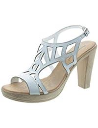 Longra Donne Pelle Microfibra Bohemia Flats Sandal (EU Size:36, Bianca)