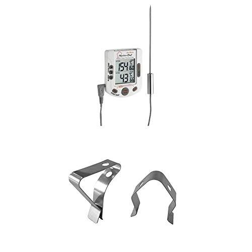 TFA Dostmann Küchen-Chef Duo-Therm Digitales Grill-Braten-/Ofenthermometer, Kerntemperaturkontrolle, Temperaturvorgabe + Clips für Grill-Bratenthermometer, zur Befestigung des Temperaturfühlers