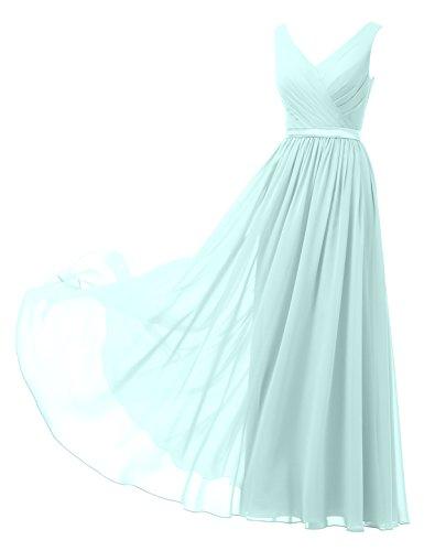 Alicepub A-Linie Chiffon Brautjungfernkleider Abendkleider Lang Ärmellos Ballkleider, Hellblau, 38
