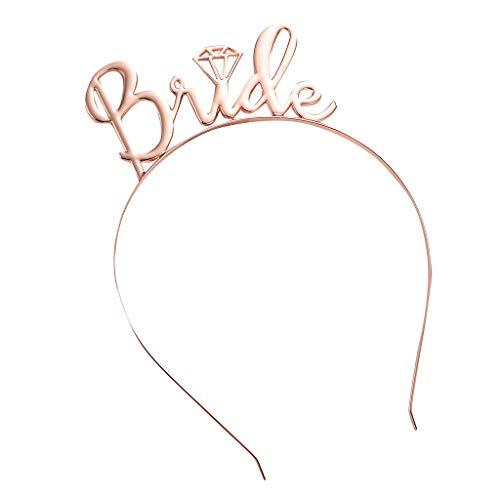 CANDLLY Stirnband Damen, Kopfbedeckung Zubehör Braut einfache Diamant Krone Haarschmuck Stirnbands Hochzeit Zubehörs Kopfschmuck (Rosa,One size)