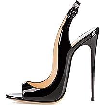 1f9bb04477507 EDEFS Femmes Artisan Fashion Sandales Décolletés Bout Ouverts Chaussures à  Talon Haut de 120mm Noir