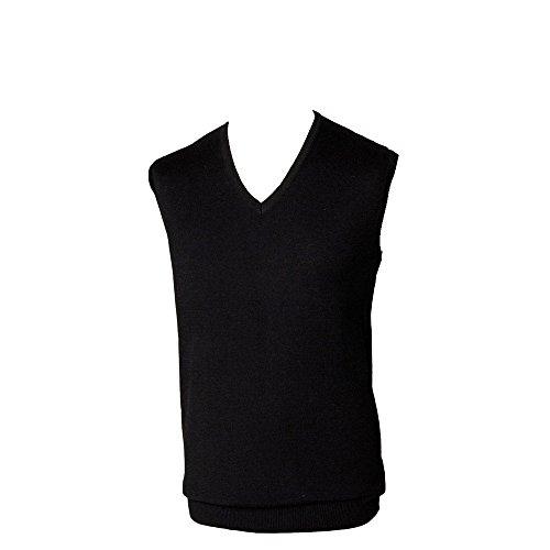 Henbury Herren Pullover Sleeveless V-Neck Lambswool Jumper, Large Black