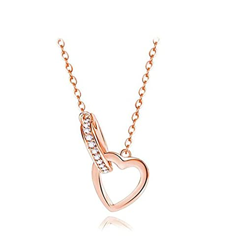 Aooaz Femmes Collier Pendentif S925 Argent Or Rose Cœur Pendentif Cristal Collier Argent Engagement Mariage