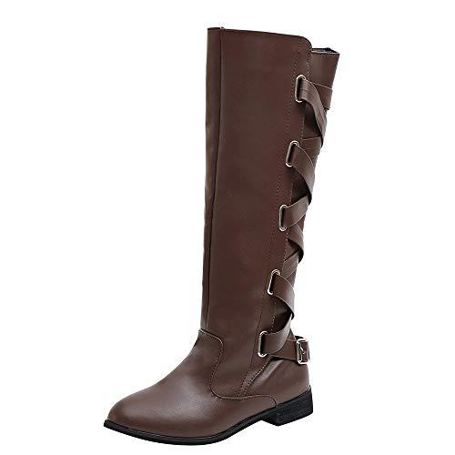 Stiefel Damen Schuhe SUNNSEAN Damenstiefel Schnalle Roman Riding Kniehohe Cowboystiefel Martin Lange Stiefel Casual Boots Schnürstiefel Warm Stiefeletten
