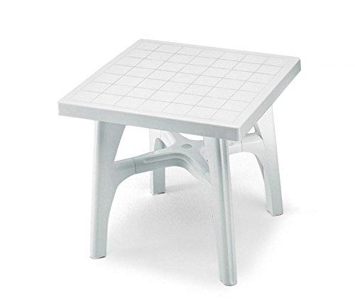 Ideapiu Table carré pour extérieur démontable, Table résine 80 x 80, Table pour Jardin Blanc