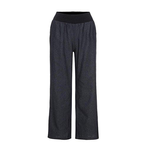 Skinny Wide Leg Jeans (LuckyGirls Damen Jeanshose Gummibund Lange Hose Wide Leg Palazzo Pants Jeans Hose Skinny Hosen Streetwear Hosen S-4XL (schwarz, S))