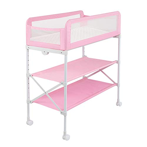 Table à Langer pour Bébé sur Roues, Plateaux De Rangement Et Baignoire, Position Réglable en Hauteur, Mode Clôture (Couleur : Pink)