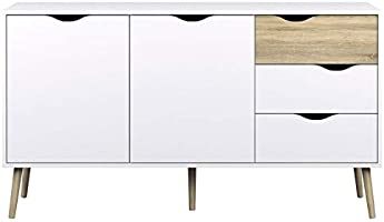 Delta Sideboard 2 Doors with 3 Drawers By TVilum, White, 75381 49Ak