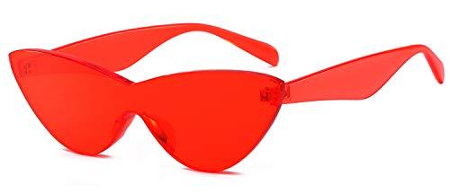 SHADESFIELD Bunte Sonnenbrille für Damen, randlos, transparent, Katzenaugen-Sonnenbrille, getönt, Candy, Rot (rot), Medium