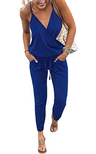 ECOWISH ECOWISH Damen Jumpsuit Lang V Ausschnitt Overall Sommer Ärmellos Hosenanzug Träger Playsuit Romper Blau S