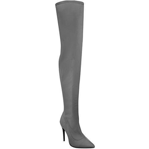Damen Overknee-Stiefel mit High Heels aus Lycra-Stretchmaterial - Grau Lycra - EUR 38 (Heel Heels Overknee High)