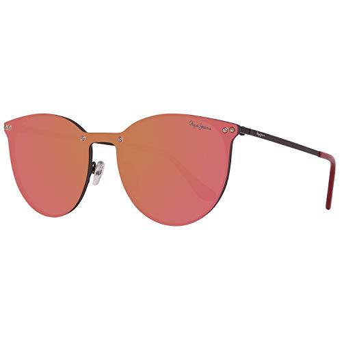 Pepe Jeans stilvolle Damen Metall-Sonnenbrille Verspiegelt Monoscheibe-Style Schwarz