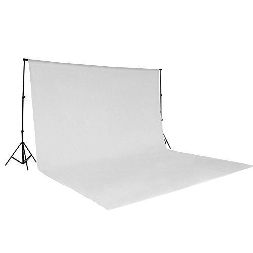 TecTake Teleskop Fotostudio Komplettset Hintergrundsystem inkl. Hintergrund 6x3 m + Tasche - Diverse Farben - (Weiß   Nr. 400780)
