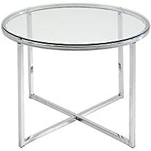 Mesa auxiliar redonda en cristal transparente y cromo de 55 cm de diámetro , 45 cm de alto