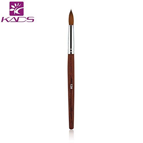 KADS 100%, Kolinsky Sable, pennello per nail art, in acrilico, con manico in legno rosso, spazzola per unghie, strumento per manicure -12,14,16#