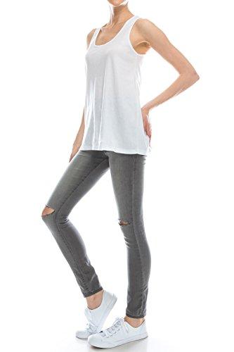 Loose Fit Relaxed Flowy Strickpullunder Vest Top für Frauen und Junioren 2 PK WHITE MINT