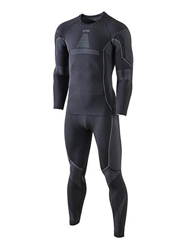 Selighting Herren Funktionsunterwäsche Thermo Skiunterwäsche Warme Unterwäsche Set für Ski Radsport Fitness Laufen (M, Grau)
