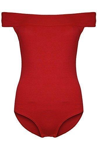 Damen Body - Schulterfrei Dehnbar Leotard Übergrössen Rosso