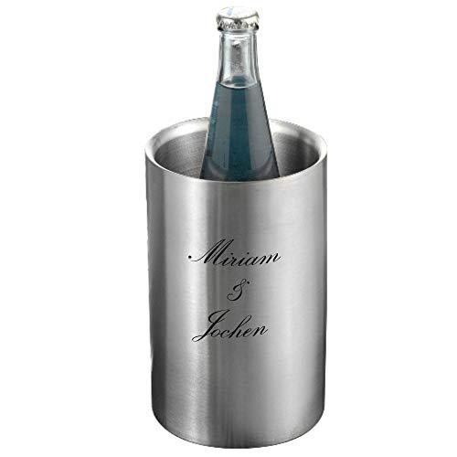 Sterngraf Flaschenkühler Miami MIT Gravur (z.B. Namen) von Esmeyer aus Edelstahl Höhe ca. 19,5 cm Durchmesser ca. 12 cm, matt gebürstet, doppelwandig, Getränkekühler, Sektkühler, Weinkühler