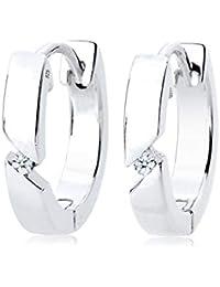 Diamore Basic Women's Creole Diamond Earrings, (0.04 ct), 925 Sterling Silver
