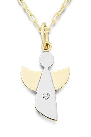 Miore Damen-Halskette mit Anhänger Schutzengel Brillant 9 Karat 375 Gelbgold 45cm