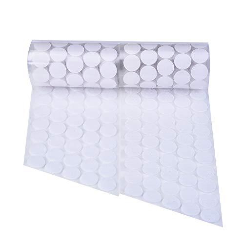 500 Stück Selbstklebende Hakenband und Flauschband Klettband PunkteBänder, Weiß -