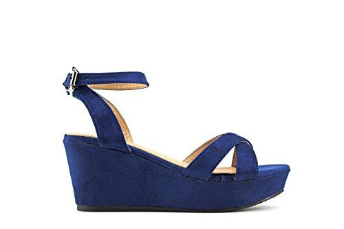Modelisa - Sandalia Cuña Mujer (39, Azul)