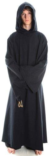 Mönchskutte Mittelalter Kleidung Kutte Mönchsrobe schwarz L (Robe Mönch Erwachsene)