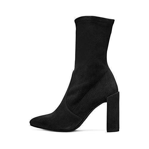 LYY.YY Frauen Spitze Rutschfest Dicker Absatz Booties Mode Ärmel Hochhackig Stiefeletten Socken Stiefel (Absatzhöhe: 12Cm),Black,44