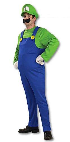 Kinder Deluxe Luigi Kostüm - Super Mario Brothers-Kostüm - Luigi - für Erwachsene/Herren - Deluxe - Größe S