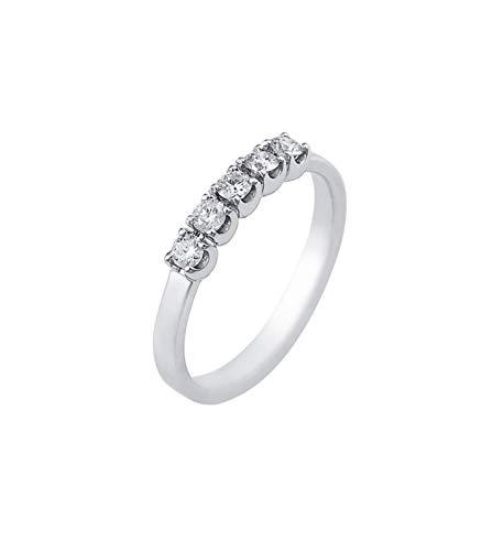 Gioielli di valenza anello veretta a 5 pietre in oro bianco 18k con diamanti ct. 0,35-11