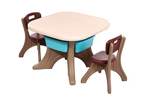 Clamaro \'Creative\' Kindersitzgruppe Garten mit Tisch und 2 Stühlen, Kinder Sitzgruppe für drinnen oder draußen aus wetterfestem und uv-beständigem Kunststoff - Braun / Beige