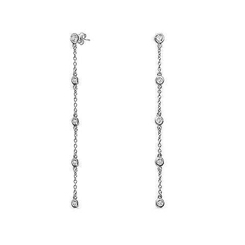 CZ by the Inch Long Dangle Earrings 925 Sterling Silver