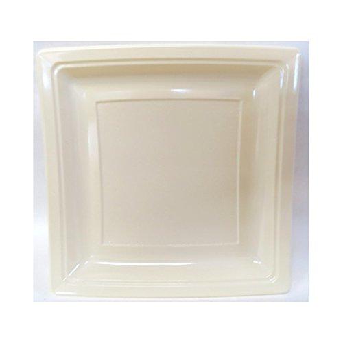 Générique - Assiette plastique carrée 185mm ivoire par 50