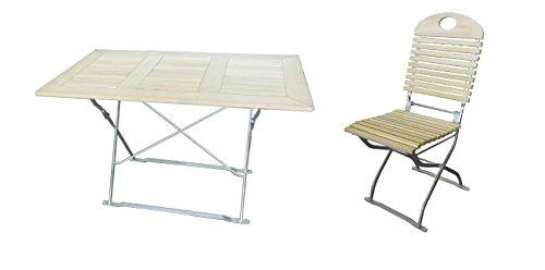 Biergartengarnitur 1x Tisch 120x70 cm & 6x Stuhl Edition-Exklusiv natur/verzinkt