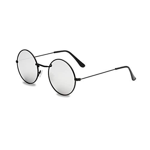 KnSam Polarisierte UV400 Schutz Ultraleicht Rahmen Runden Damen Schwarzes Silber Sonnenbrillen Fahrerbrille