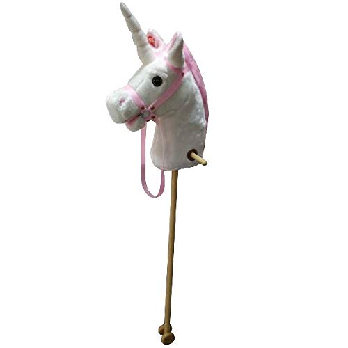 Stick Pferd Einhorn mit Ton 95 cm weiß