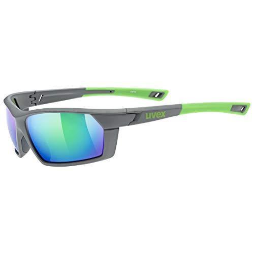 uvex Unisex- Erwachsene, sportstyle 225 Sportbrille, grey - neon green, one size