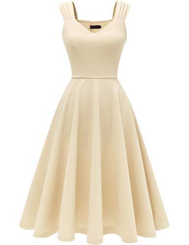 Dresstells 1950's Robe de soirée Cocktail Vintage années 50 col en V sans Manches Longueur mi-Mollet Champagne 3XL