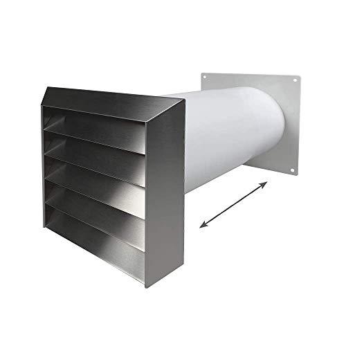EASYTEC® Mauerkasten Ø 150 mm Edelstahl mit Teleskoprohr und einer Rückstauklappe 3350661115658