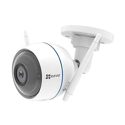 EZVIZ ezTube 720P HD Wifi 2.4Ghz WLAN-Kamera mit Nachtsicht, Kompatibel mit Amazon Alexa, Rundumleuchte und Sirene, Doppelte Externe WLAN-Antennen, 2-Wege-Audio, High-DB-Lautsprecher, Staubdicht, Wasserdicht, Cloud-Service verfügbar