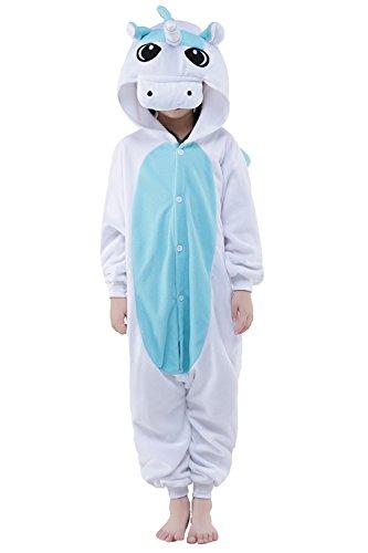 RandLand Kinder Einhorn Kostüm Tier Erwachsene Schlafanzug kigurumi Cosplay Pyjama XXXX-Small, Blue White Unicorn