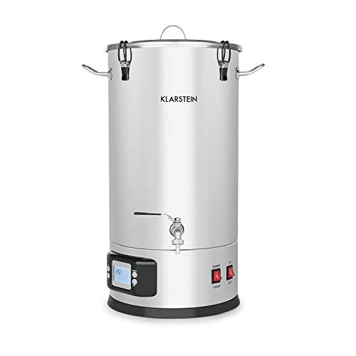 Klarstein Maischfest Boiler - Cuve de fermentation, Inox 304, Modifie pas le goût, Bouchon en acrylique inclus, Volume 25L, Écran LCD, Robinet de vidange, Poignée, Argent