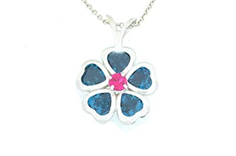 2.5 Ct Simulated London Blue Topaz Heart Bezel & Created Pink Sapphire Pendant .925 Sterling Silver Rhodium