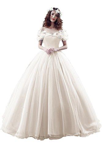 Promgirl House Damen 2017 Maerchenhaft Prinzessin A-Linie Ball Brautkleider Hochzeits Abendkleider Lang Elfenbein
