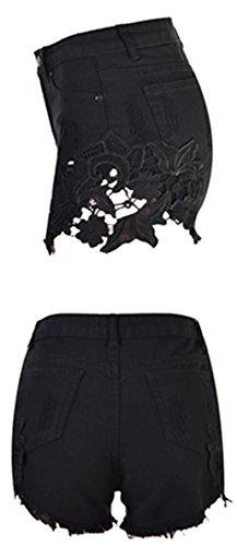 Bestfort Damen Shorts Jeans-Shorts elastische Taille sportlich unregelmäßige lose große Shorts Badeort casual Jeansshorts Schwarz