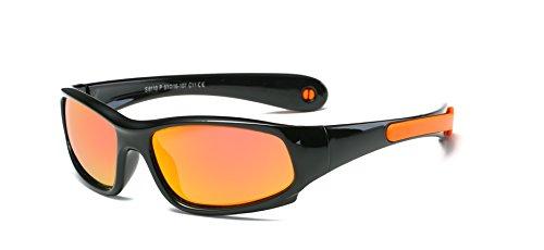 SojoS Kids Rubber Flexible Polarized Sunglasses for Baby Age 3-10 SK207 Black Frame/Orange Strap/Orange Lens