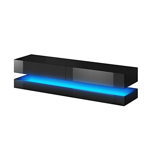 Aviator - Meuble TV Suspendu / Table Basse TV / Banc TV de Salon (140 cm, Noir Mat / Noir Brillant avec l'éclairage LED bleue)